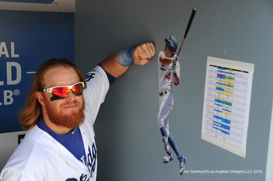Los Angeles Dodgers Justin Turner and Kike FATHEAD during game against the San Diego Padres Sunday, July 10 2016 at Dodger Stadium in Los Angeles, California. Photo by Jon SooHoo/©Los Angeles Dodgers,LLC 2016
