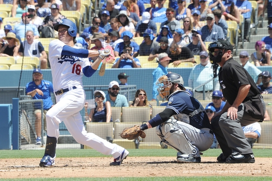 Los Angeles Dodgers Kenta Maeda hits during game against the San Diego Padres Sunday, July 10 2016 at Dodger Stadium in Los Angeles, California. Photo by Jon SooHoo/©Los Angeles Dodgers,LLC 2016