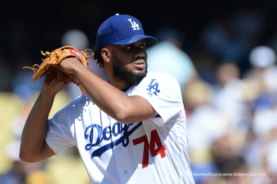 Los Angeles Dodgers Kenley Jansen pitches during game against the San Diego Padres Sunday, July 10 2016 at Dodger Stadium in Los Angeles, California. Photo by Jon SooHoo/©Los Angeles Dodgers,LLC 2016
