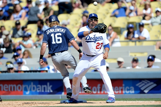Los Angeles Dodgers Adrian Gonzalez during game against the San Diego Padres Sunday, July 10 2016 at Dodger Stadium in Los Angeles, California. Photo by Jon SooHoo/©Los Angeles Dodgers,LLC 2016