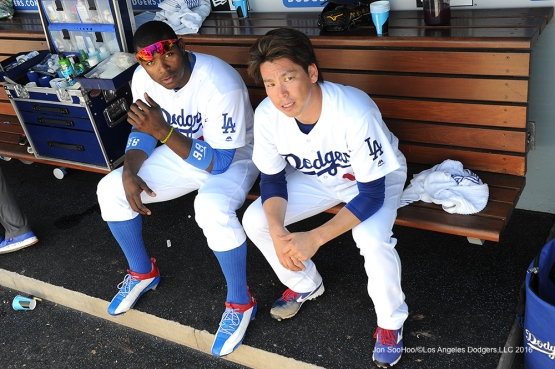 Los Angeles Dodgers Yasiel Puig and Kenta Maeda during game against the San Diego Padres Sunday, July 10 2016 at Dodger Stadium in Los Angeles, California. Photo by Jon SooHoo/©Los Angeles Dodgers,LLC 2016