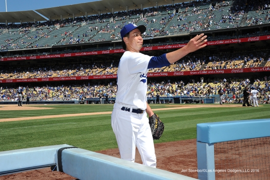 Los Angeles Dodgers Kenta Maeda during game against the San Diego Padres Sunday, July 10 2016 at Dodger Stadium in Los Angeles, California. Photo by Jon SooHoo/©Los Angeles Dodgers,LLC 2016