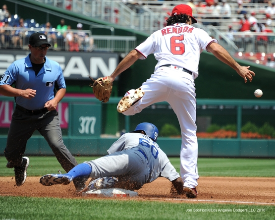 Los Angeles Dodgers Andrew Toles is safe at third during game against the Washington Nationals Thursday, July 21, 2016 at Nationals Park in Washington,DC. Photo by Jon SooHoo/©Los Angeles Dodgers,LLC 2016