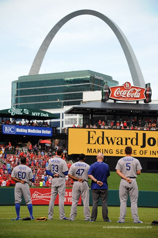 Los Angeles Dodgers stand for anthem prior to game against the St. Louis Cardinals at Busch Stadium Friday, July 22, 2016 in St.Louis, Missouri.  Photo by Jon SooHoo/©Los Angeles Dodgers,LLC 2016