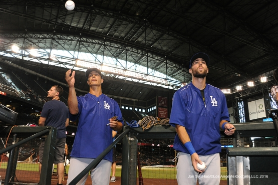 Los Angeles Dodgers Zach Walters and Chris Taylor sign for fans prior to game against the Arizona Diamondbacks Saturday, July 16, 2016 at Chase Field in Phoenix, Arizona. Photo by Jon SooHoo/©Los Angeles Dodgers,LLC 2016