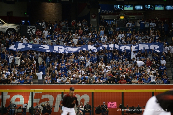 PANTONE 294-Really great Los Angeles Dodger fans during game against the Arizona Diamondbacks Saturday, July 16, 2016 at Chase Field in Phoenix, Arizona. Photo by Jon SooHoo/©Los Angeles Dodgers,LLC 2016