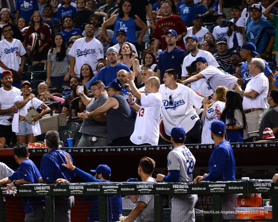 Dangerous destination during game against the Arizona Diamondbacks Saturday, July 16, 2016 at Chase Field in Phoenix, Arizona. Photo by Jon SooHoo/©Los Angeles Dodgers,LLC 2016