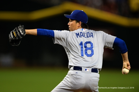 Los Angeles Dodgers Kenta Maeda during game against the Arizona Diamondbacks Sunday, July 17, 2016 at Chase Field in Phoenix, Arizona. Photo by Jon SooHoo/©Los Angeles Dodgers,LLC 2016