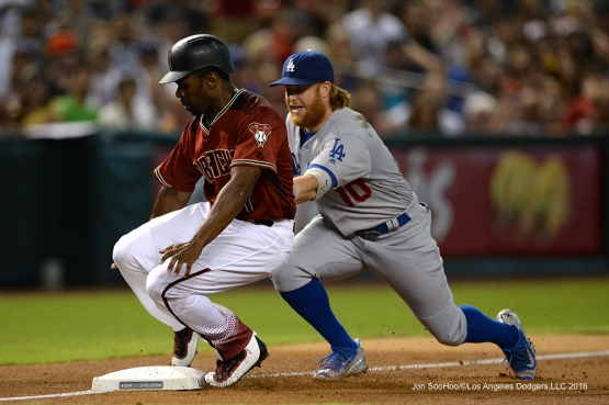 Los Angeles Dodgers Justin Turner with the tag during game against the Arizona Diamondbacks Sunday, July 17, 2016 at Chase Field in Phoenix, Arizona. Photo by Jon SooHoo/©Los Angeles Dodgers,LLC 2016