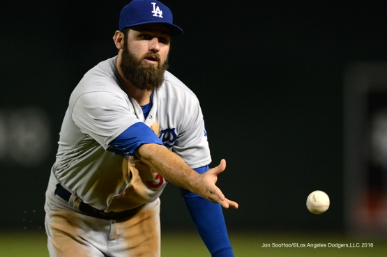 Los Angeles Dodgers Scott Van Slyke during game against the Arizona Diamondbacks Sunday, July 17, 2016 at Chase Field in Phoenix, Arizona. Photo by Jon SooHoo/©Los Angeles Dodgers,LLC 2016