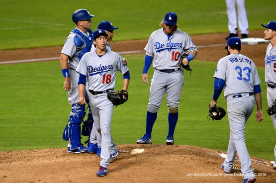 Los Angeles Dodger Kenta Maeda comes out of the game against the Arizona Diamondbacks Sunday, July 17, 2016 at Chase Field in Phoenix, Arizona. Photo by Jon SooHoo/©Los Angeles Dodgers,LLC 2016