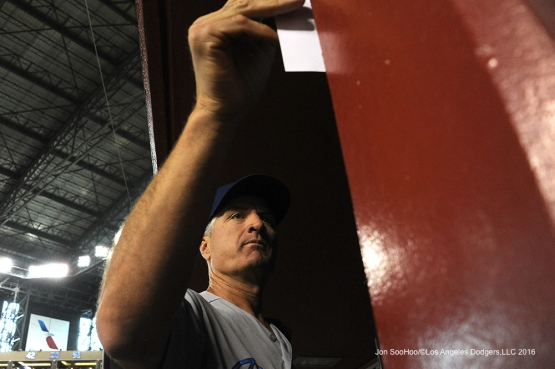Los Angeles Dodgers Bob Geren during game against the Arizona Diamondbacks Sunday, July 17, 2016 at Chase Field in Phoenix, Arizona. Photo by Jon SooHoo/©Los Angeles Dodgers,LLC 2016