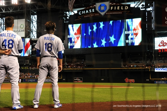 Los Angeles Dodgers  Kenta Maeda stands for the anthem prior to  game against the Arizona Diamondbacks Sunday, July 17, 2016 at Chase Field in Phoenix, Arizona. Photo by Jon SooHoo/©Los Angeles Dodgers,LLC 2016