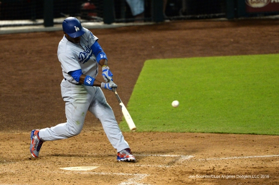 Los Angeles Dodgers Yasiel Puig  during game against the Arizona Diamondbacks Sunday, July 17, 2016 at Chase Field in Phoenix, Arizona. Photo by Jon SooHoo/©Los Angeles Dodgers,LLC 2016