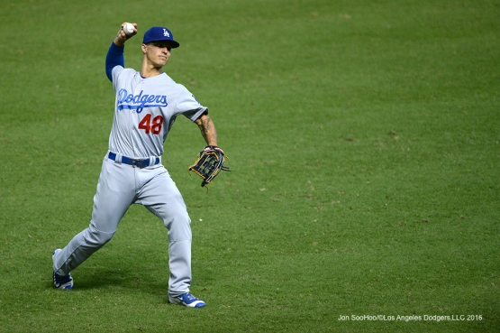 Los Angeles Dodgers Zach Walters warms up during game against the Arizona Diamondbacks Sunday, July 17, 2016 at Chase Field in Phoenix, Arizona. Photo by Jon SooHoo/©Los Angeles Dodgers,LLC 2016