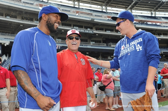 Los Angeles Dodgers Howie Kendrick and Joc Pederson with Davey Lopes prior to game against the Washington Nationals Tuesday, July 19, 2016 at Nationals Park in Washington,DC. Photo by Jon SooHoo/©Los Angeles Dodgers,LLC 2016