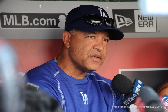 Los Angeles Dodgers Dave Roberts during game against the Washington Nationals Tuesday, July 19, 2016 at Nationals Park in Washington,DC. Photo by Jon SooHoo/©Los Angeles Dodgers,LLC 2016