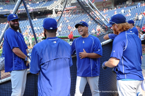 Los Angeles Dodgers Dave Roberts laughs prior to game against the Washington Nationals Tuesday, July 19, 2016 at Nationals Park in Washington,DC. Photo by Jon SooHoo/©Los Angeles Dodgers,LLC 2016
