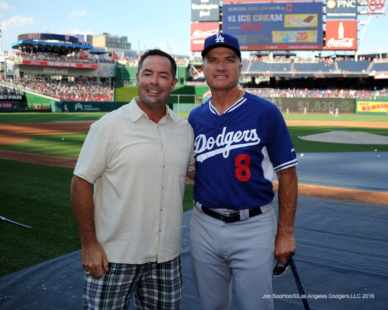 Los Angeles Dodgers coach Bob Geren with USS Cole Commander Kirk Lipoid pose prior to game against the Washington Nationals Tuesday, July 19, 2016 at Nationals Park in Washington,DC. Photo by Jon SooHoo/©Los Angeles Dodgers,LLC 2016