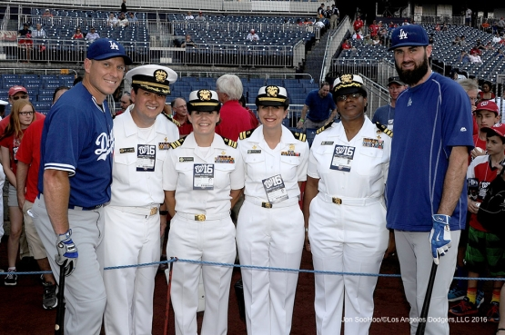Los Angeles Dodgers A.J.Ellis and Scott Van Slyke pose with members of the Navy prior to game against the Washington Nationals Tuesday, July 19, 2016 at Nationals Park in Washington,DC. Photo by Jon SooHoo/©Los Angeles Dodgers,LLC 2016