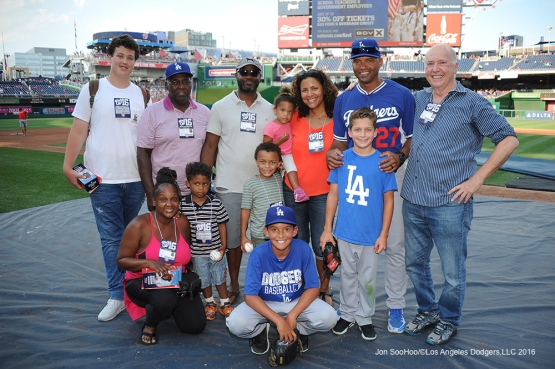 Los Angeles Dodgers George Lombard and family prior to game against the Washington Nationals Tuesday, July 19, 2016 at Nationals Park in Washington,DC. Photo by Jon SooHoo/©Los Angeles Dodgers,LLC 2016