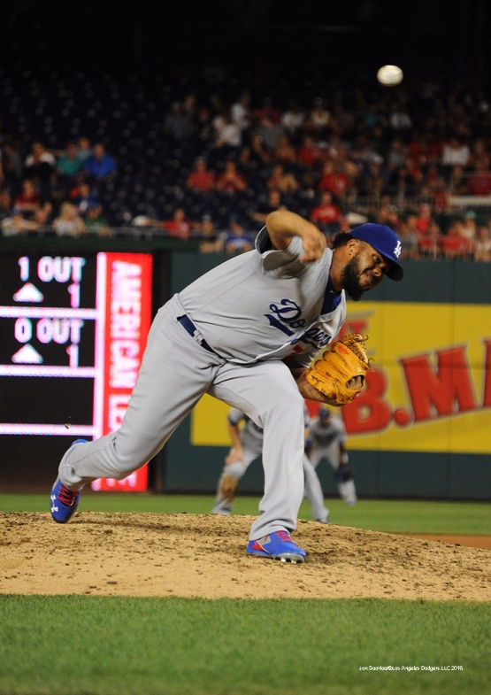 Los Angeles Dodgers Kenley Jansen closes the game against the Washington Nationals Tuesday, July 19, 2016 at Nationals Park in Washington,DC. Photo by Jon SooHoo/©Los Angeles Dodgers,LLC 2016