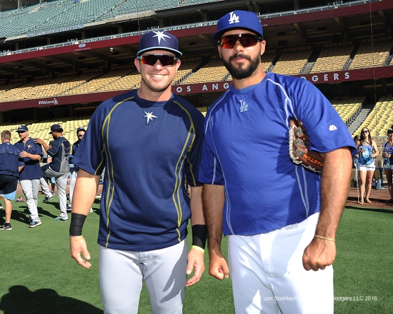 Los Angeles Dodgers Andre Ethier poses with Evan Longoria prior to  game against the Tampa Bay Rays Tuesday, July 26,2016 at Dodger Stadium in Los Angeles,California. Photo by Jon SooHoo©Los Angeles Dodgers,LLC 2016