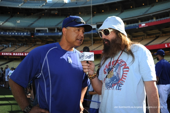 Dave Roberts interviewed by the media prior to game against the Tampa Bay Rays Tuesday, July 26,2016 at Dodger Stadium in Los Angeles,California. Photo by Jon SooHoo©Los Angeles Dodgers,LLC 2016