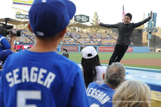 Kenichi Ebina performs prior to Los Angeles Dodgers game against the Tampa Bay Rays Tuesday, July 26,2016 at Dodger Stadium in Los Angeles,California. Photo by Jon SooHoo©Los Angeles Dodgers,LLC 2016