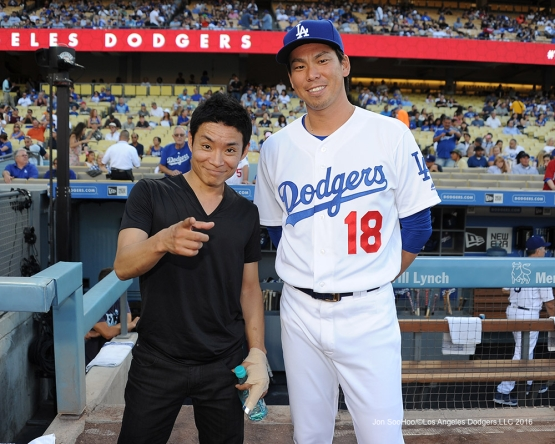 Kenichi Ebina poses with Kenta Maeda prior to Los Angeles Dodgers game against the Tampa Bay Rays Tuesday, July 26,2016 at Dodger Stadium in Los Angeles,California. Photo by Jon SooHoo©Los Angeles Dodgers,LLC 2016