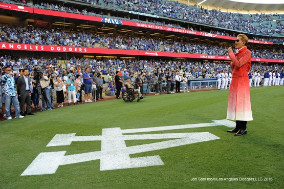 Exile Atsushi performs the Japan anthem prior to Los Angeles Dodgers  game against the Tampa Bay Rays Tuesday, July 26,2016 at Dodger Stadium in Los Angeles,California. Photo by Jon SooHoo©Los Angeles Dodgers,LLC 2016