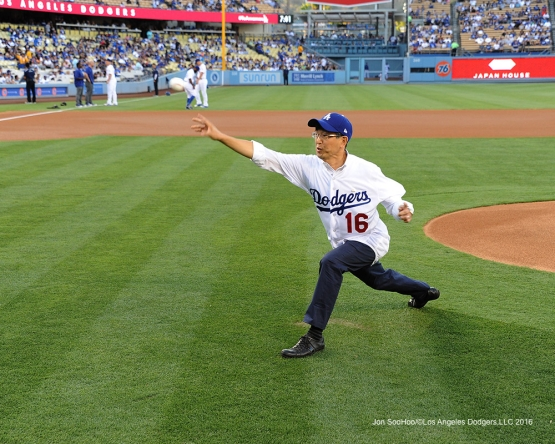 Consul General of Japan, Akira Chiba throws out first pitch prior to game against the Tampa Bay Rays Tuesday, July 26,2016 at Dodger Stadium in Los Angeles,California. Photo by Jon SooHoo©Los Angeles Dodgers,LLC 2016