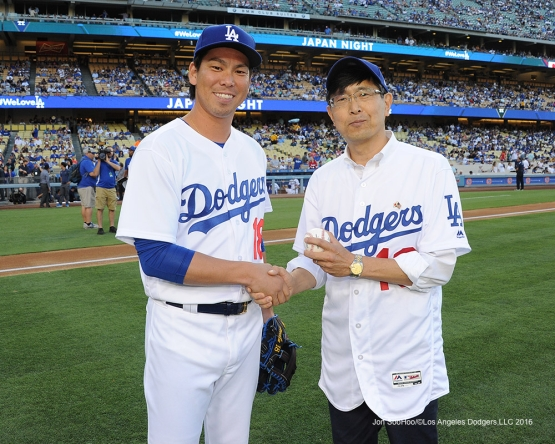 Consul General of Japan, Akira Chiba and Kenta Maeda pose prior to game against the Tampa Bay Rays Tuesday, July 26,2016 at Dodger Stadium in Los Angeles,California. Photo by Jon SooHoo©Los Angeles Dodgers,LLC 2016