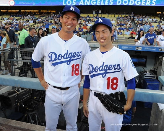 Los Angeles Dodgers Kenta Maeda poses with Kenta Maeda II  prior to game against the Tampa Bay Rays Tuesday, July 26,2016 at Dodger Stadium in Los Angeles,California. Photo by Jon SooHoo©Los Angeles Dodgers,LLC 2016