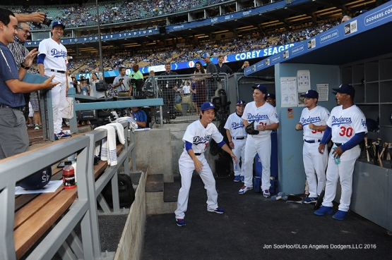 Kenta Maeda II  performs for the team prior to game against the Tampa Bay Rays Tuesday, July 26,2016 at Dodger Stadium in Los Angeles,California. Photo by Jon SooHoo©Los Angeles Dodgers,LLC 2016