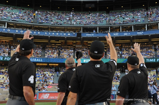 Umps wave to Vin prior to game against the Tampa Bay Rays Tuesday, July 26,2016 at Dodger Stadium in Los Angeles,California. Photo by Jon SooHoo©Los Angeles Dodgers,LLC 2016