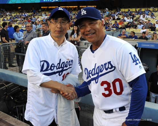 Consul General of Japan, Akira Chiba poses with Dave Roberts prior to game against the Tampa Bay Rays Tuesday, July 26,2016 at Dodger Stadium in Los Angeles,California. Photo by Jon SooHoo©Los Angeles Dodgers,LLC 2016