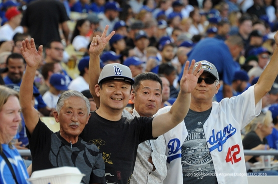 Great Los Angeles Dodger fans pose prior to game against the Tampa Bay Rays Tuesday, July 26,2016 at Dodger Stadium in Los Angeles,California. Photo by Jon SooHoo©Los Angeles Dodgers,LLC 2016