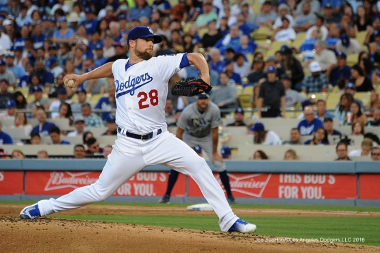 Los Angeles Dodgers Bud Norris pitches during game against the Tampa Bay Rays Tuesday, July 26,2016 at Dodger Stadium in Los Angeles,California. Photo by Jon SooHoo©Los Angeles Dodgers,LLC 2016