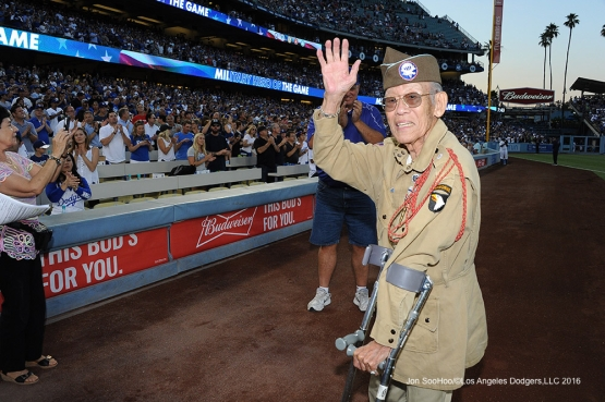 Military Hero of the Game Chief Master Sergeant, Robert Izumi is honored during game against the Tampa Bay Rays Tuesday, July 26,2016 at Dodger Stadium in Los Angeles,California. Photo by Jon SooHoo©Los Angeles Dodgers,LLC 2016
