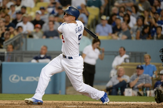 Los Angeles Dodgers Corey Seager gets a hit during game against the Tampa Bay Rays Tuesday, July 26,2016 at Dodger Stadium in Los Angeles,California. Photo by Jon SooHoo©Los Angeles Dodgers,LLC 2016