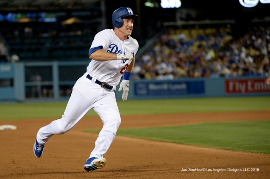 Los Angeles Dodgers Chase Utley heads for home against the Tampa Bay Rays Tuesday, July 26,2016 at Dodger Stadium in Los Angeles,California. Photo by Jon SooHoo©Los Angeles Dodgers,LLC 2016
