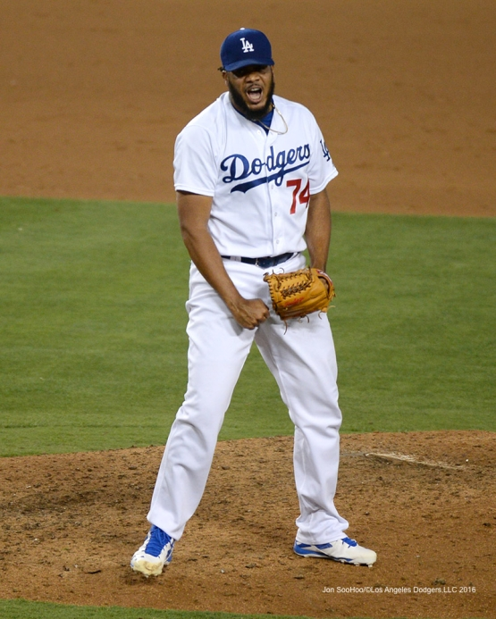 Los Angeles Dodgers Kenley Jansen gets the save against the Tampa Bay Rays Tuesday, July 26,2016 at Dodger Stadium in Los Angeles,California. Photo by Jon SooHoo©Los Angeles Dodgers,LLC 2016