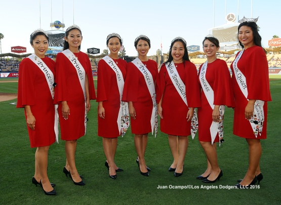 The 2015 Nisei Week Court poses for a photo during the annual Japan Night at Dodger Stadium before the game against the Tampa Bay Rays.