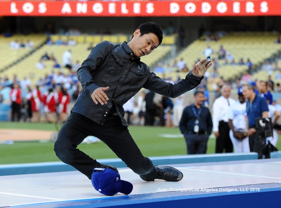 Japan native dancer and choreographer Kenichi Ebina, performs during Japan Night festivities before the game.