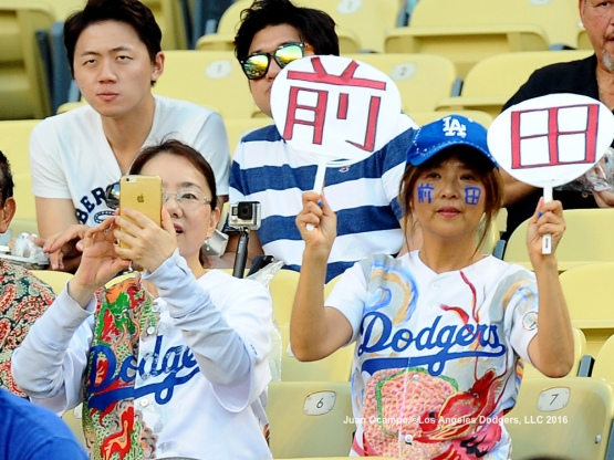 Fans take part in the festivities during the annual Japan Night at Dodger Stadium.