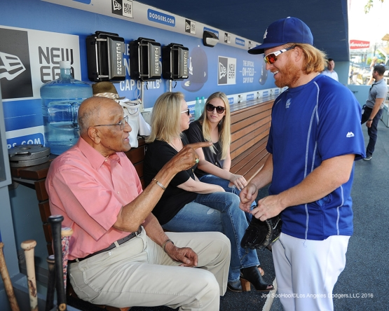 Don Newcombe and Justin Turner prior to game against the Arizona Diamondbacks Friday, July 29,2016 at Dodger Stadium in Los Angeles,California. Photo by Jon SooHoo/©Los Angeles Dodgers,LLC 2016