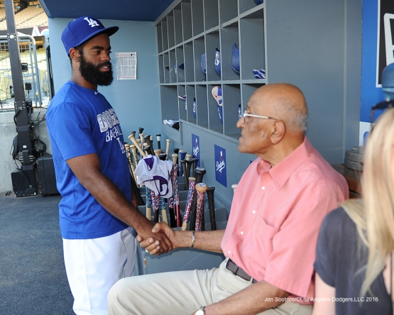 Andrew Toles and Don Newcombe  talk prior to game against the Arizona Diamondbacks Friday, July 29,2016 at Dodger Stadium in Los Angeles,California. Photo by Jon SooHoo/©Los Angeles Dodgers,LLC 2016