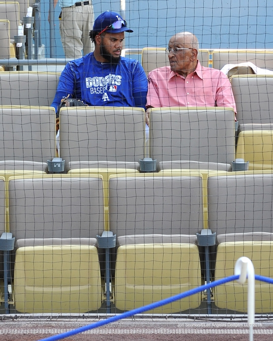 Los Angeles Dodgers Kenley Jansen and Don Newcombe talk prior to game against the Arizona Diamondbacks Friday, July 29,2016 at Dodger Stadium in Los Angeles,California. Photo by Jon SooHoo/©Los Angeles Dodgers,LLC 2016