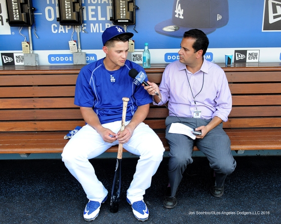Los Angeles Dodgers Corey Seager prior to game against the Arizona Diamondbacks Friday, July 29,2016 at Dodger Stadium in Los Angeles,California. Photo by Jon SooHoo/©Los Angeles Dodgers,LLC 2016